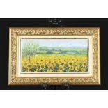 Framed Oil on Canvas. Sunflower Field by Roberto Masia