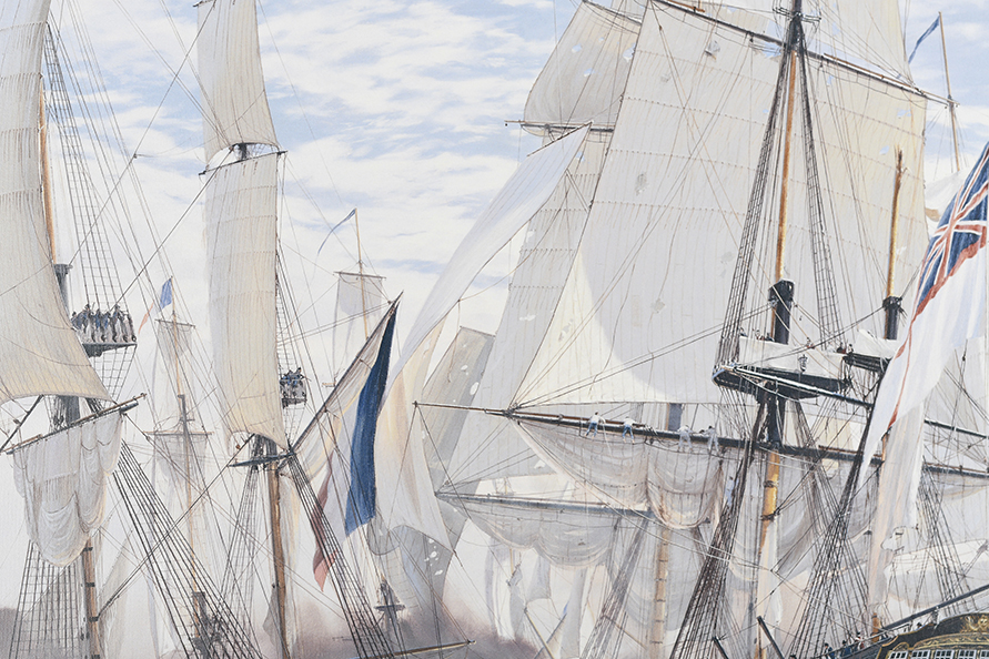 "Framed Limited Edition on Canvas by Marine Artist Steven Dews ""The Battle of Trafalgar"" - Image 5 of 14"