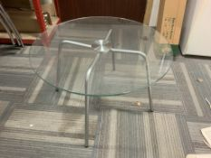 High quality Tempered glass coffee table with brushed stainless steel legs