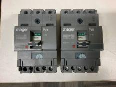 2 x Hager 125A Triple Pole 18kA MCCB