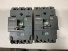 2 x Hager 63amp Triple Pole 18kA MCCB