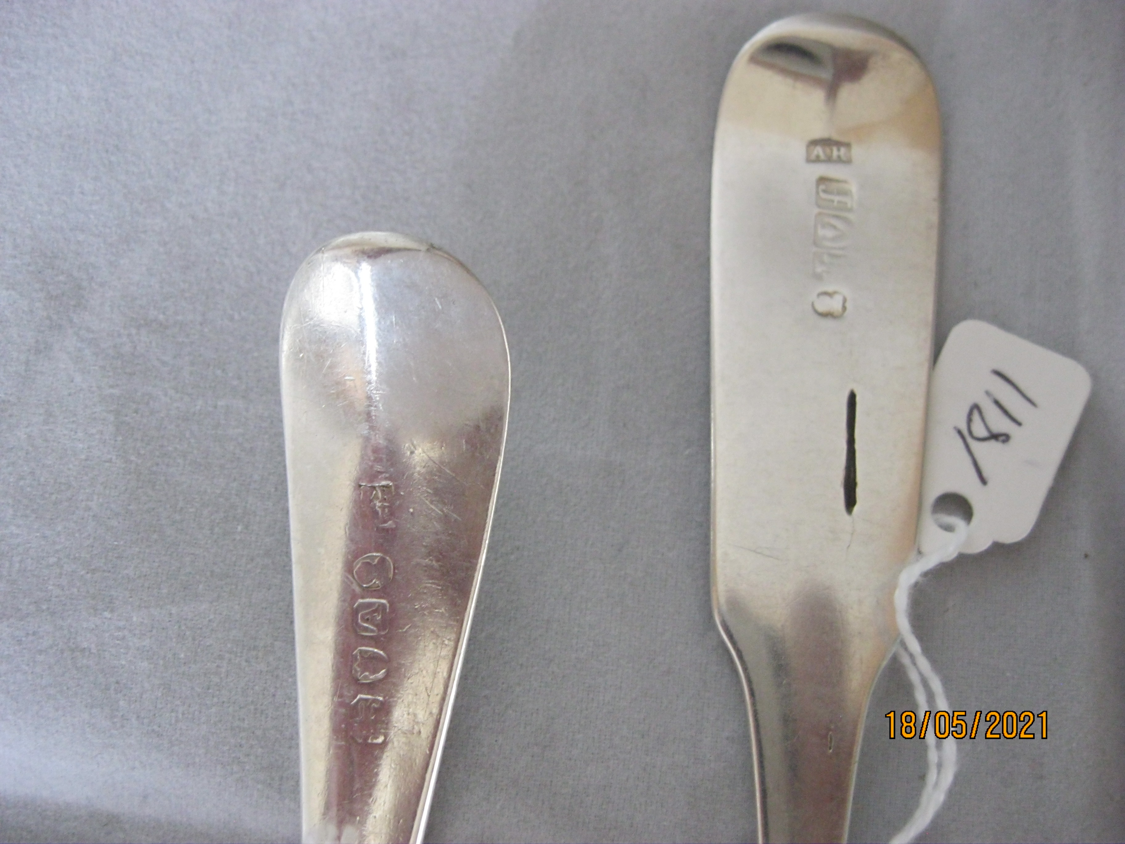 Group Of four Antique Georgian Sterling Silver Serving / Table Spoons - Image 5 of 5