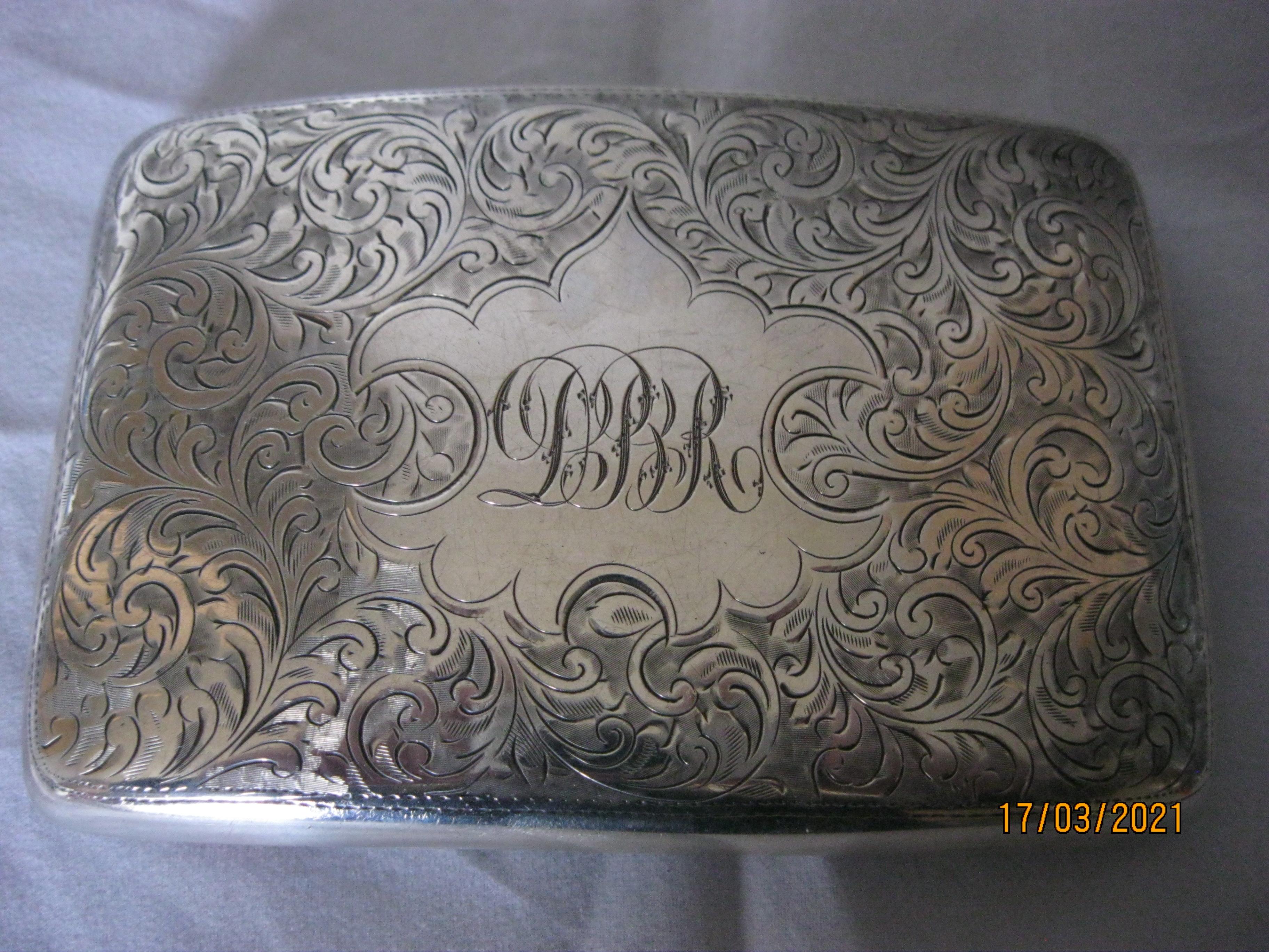 Antique Sterling Silver Cigarette Case 1921 - Image 10 of 11