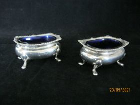 Pair Of Antique Sterling Silver Salt Cauldron With Linings Chester 1909