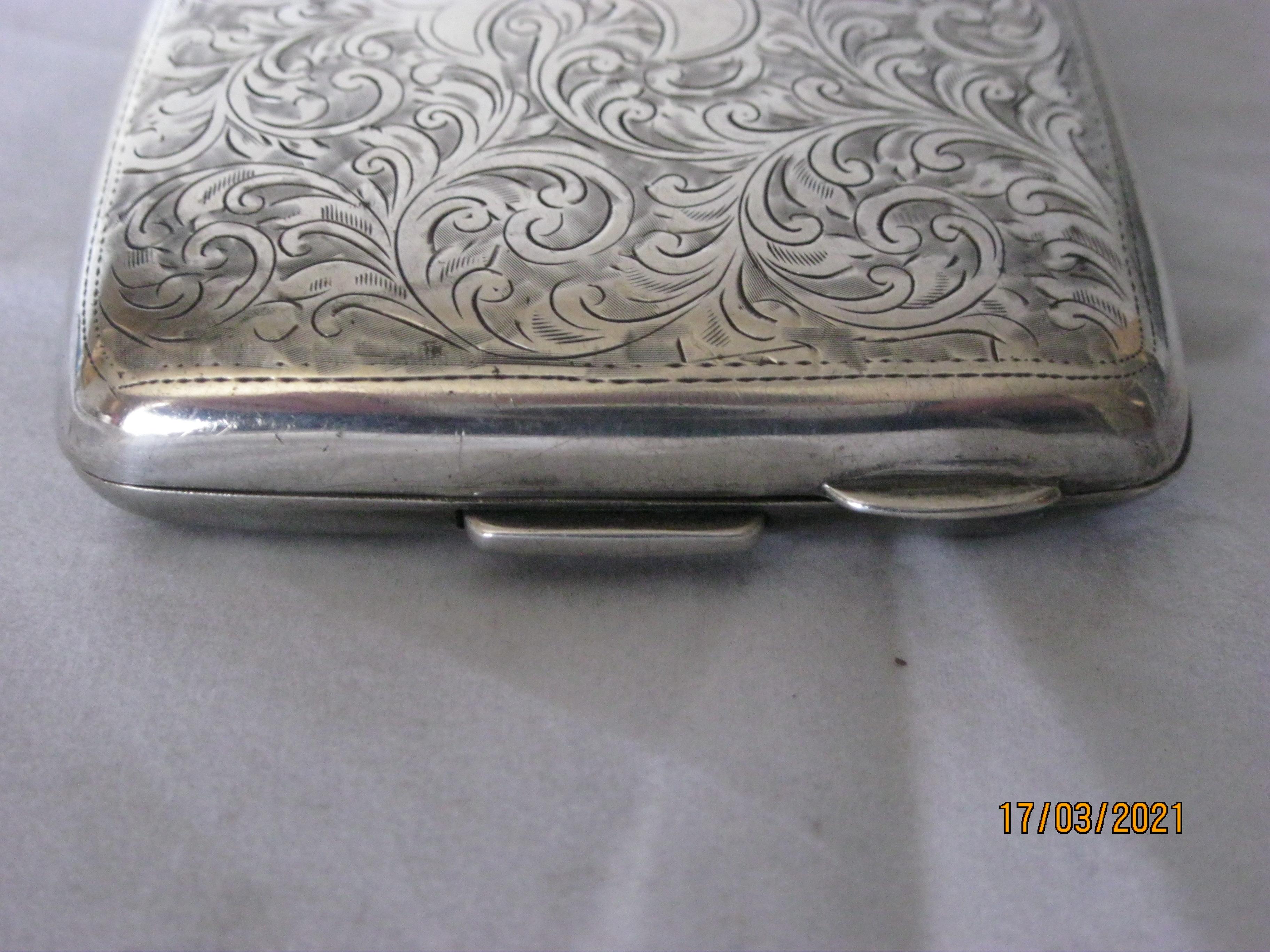 Antique Sterling Silver Cigarette Case 1921 - Image 4 of 11