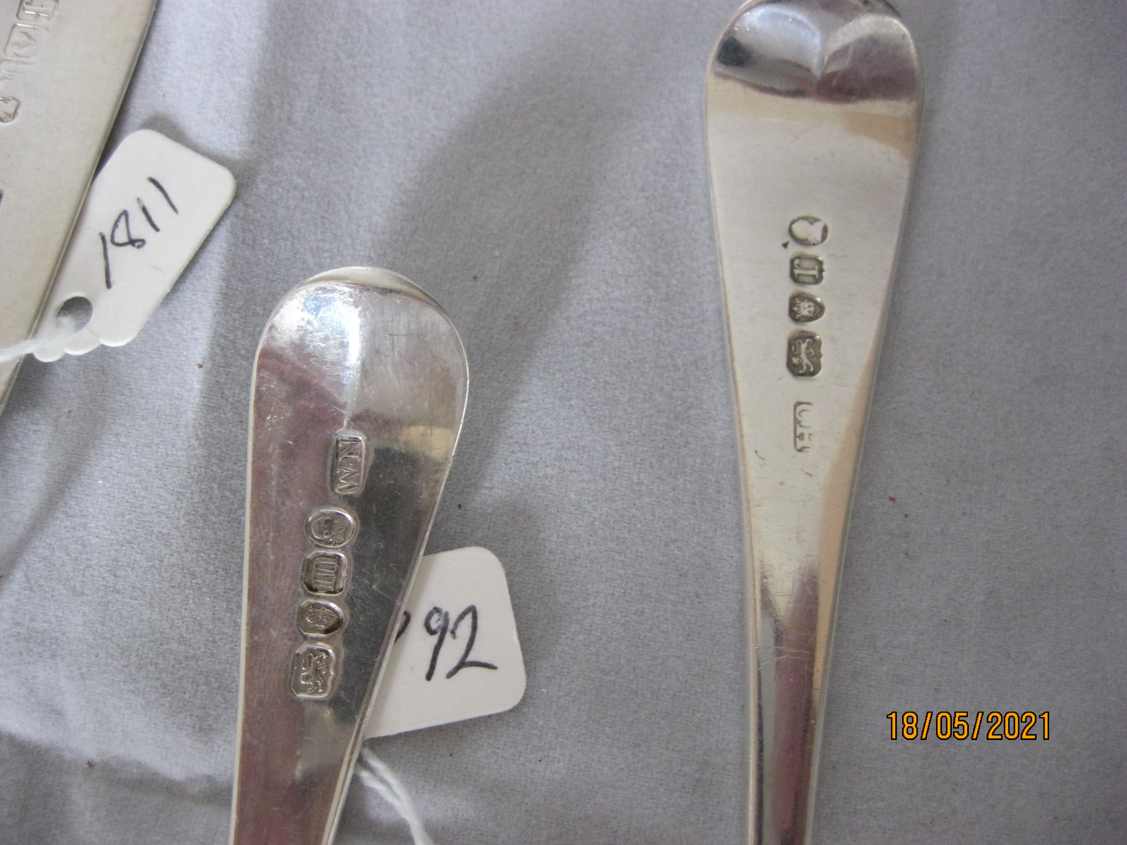 Group Of four Antique Georgian Sterling Silver Serving / Table Spoons - Image 4 of 5