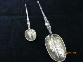 Two Edwardian Sterling Silver & Gilt Anointing Spoons 1901 London