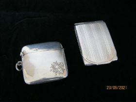 Antique Sterling Silver Slim Vesta Case & Sterling Silver match Booklet Case