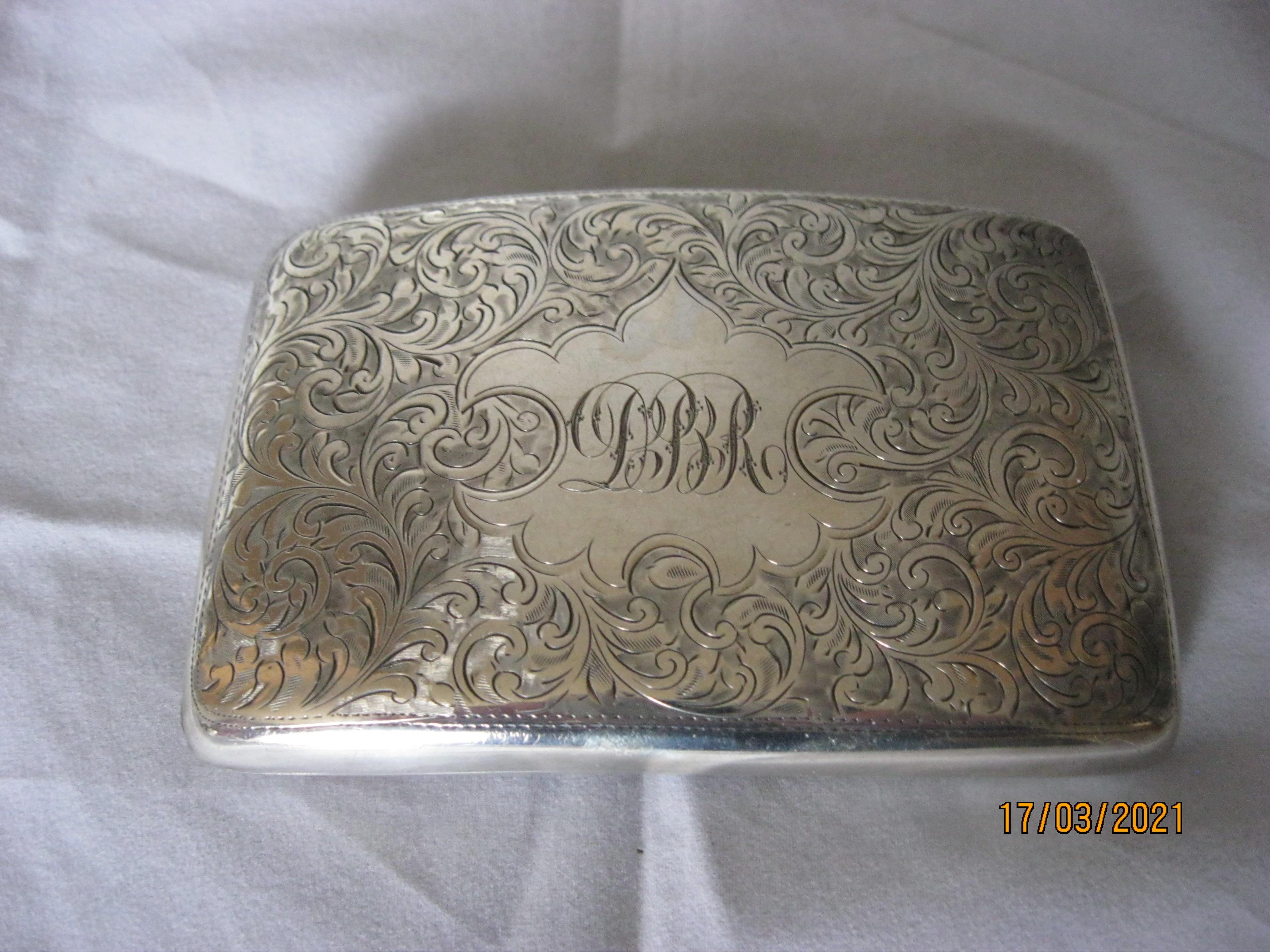 Antique Sterling Silver Cigarette Case 1921