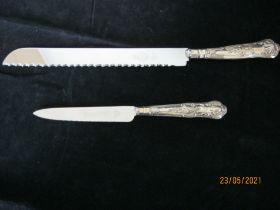 Vintage Sterling Silver Handle Cake Knife & Silver Handle Grapefruit Knife.