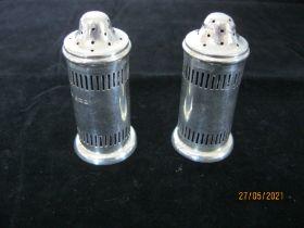 Pair Vintage Sterling Silver Pepper Pots 1924 Birmingham
