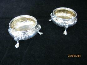 Pair Of Antique Embossed sterling silver Salt cauldron London 1875