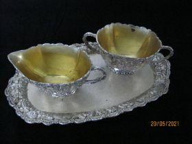 Vintage White Metal & Gilt Sugar Bowl ,Creamer & Tray Made In Japan