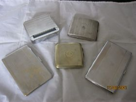 Group Of Five Cigarette Cases & Cig Roller Device