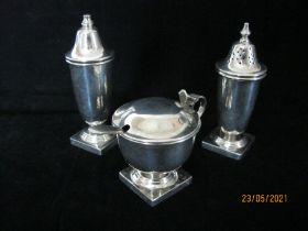 Vintage sterling Silver Three Piece Cruet Set 1958