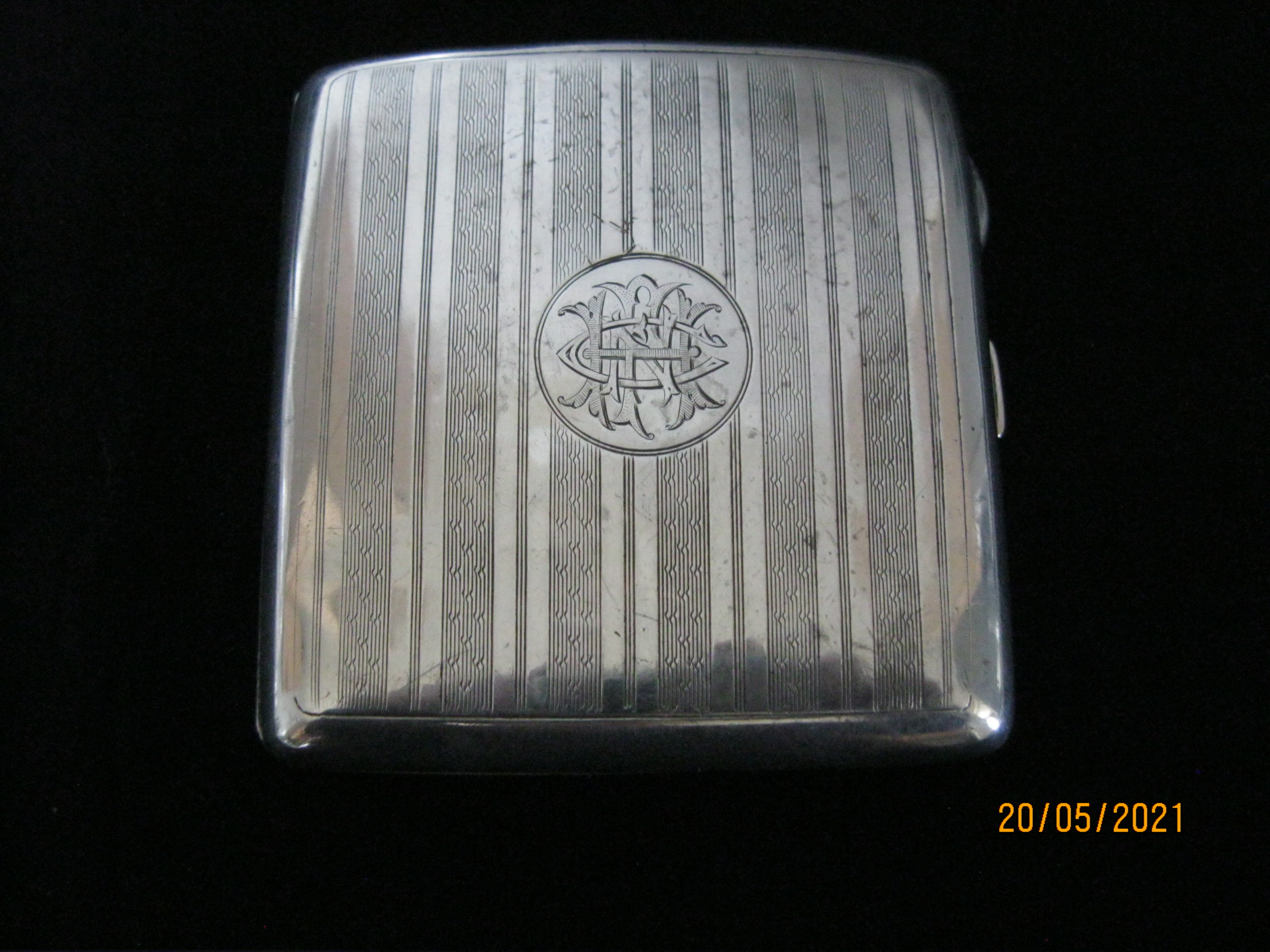 Antique Sterling Silver Cigarette Case Birmingham 1922