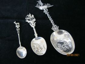Group Of Vintage Ornate Dutch Hallmarked Silver Spoons