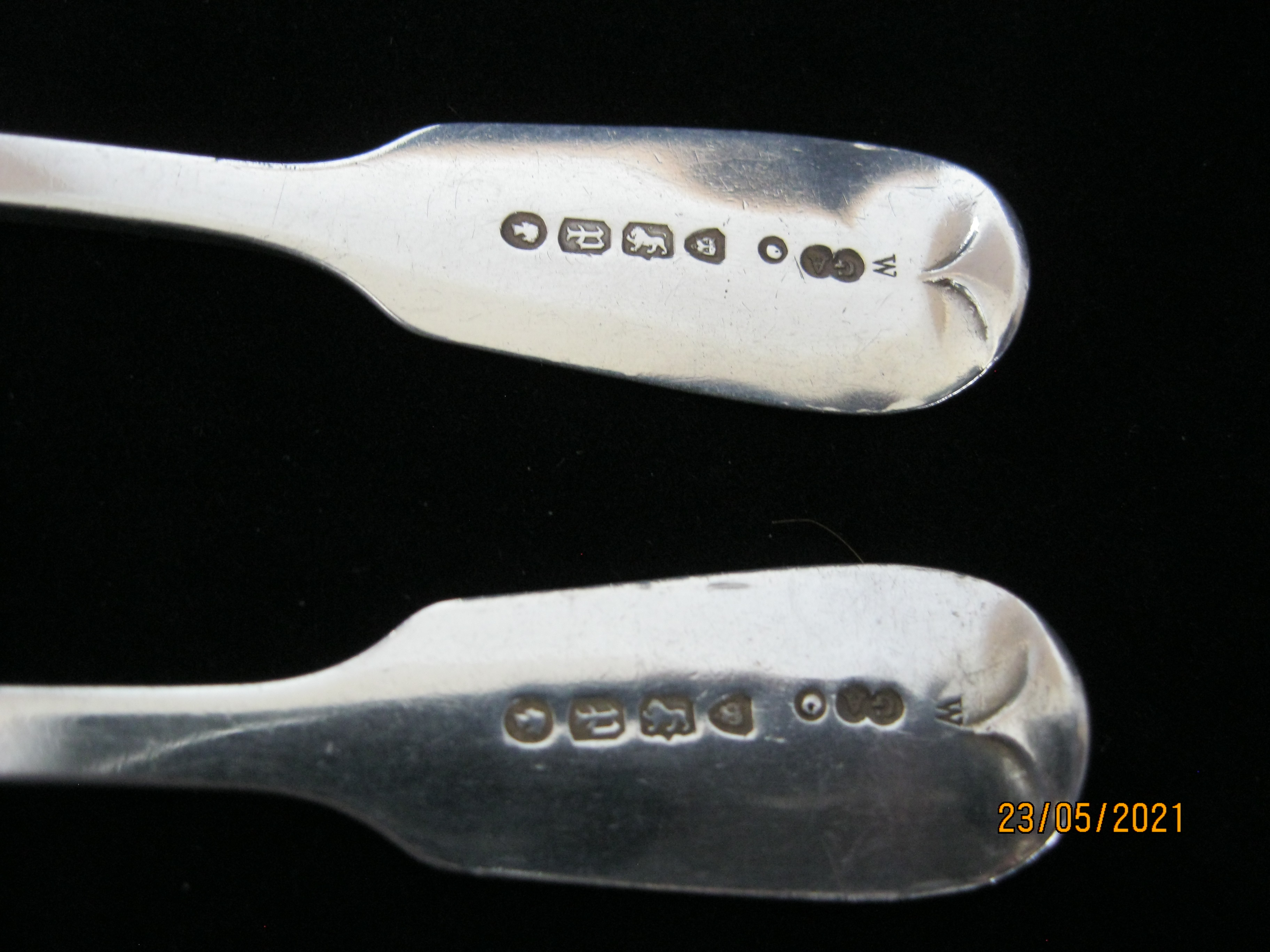 Matching Pair Of Antique Victorian Sterling Silver Teaspoons 1870 London - Image 3 of 4