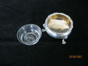Antique Sterling Silver Salt Cauldron With Lining & Small Silver Pin Tray .