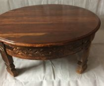 Antique Indian Carved Round Grinding Table
