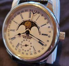 Claude Meylan / Vallee De Joux Moonphase - Gentlemen's Steel Wrist Watch