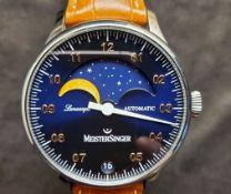 Meistersinger / Meistersinger Lunascope Blue Automatic GOLD MOON - Gentlemen's Steel Wrist Watch