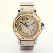 Cartier / Santos Octagon Date - Quartz - Lady's Gold/Steel Wrist Watch