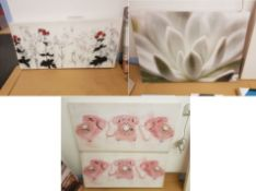 3x Prints. Poppy Print On Canvass 1000 X 500mm. Macro Photo Of Flower On Canvass 1000 X 700mm. 2