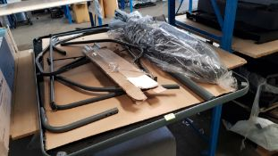 (R10K) 1x Toughened Glass Garden Table(140cm x 89cm) With Legs & 1x Grey Parasol.