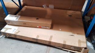 (R6B) 3 Items. 2x Atlanta Oak Bed 150cm BOX 1 OF 3 (Contains Front And Rear Frame) 1x Atlanta Oa