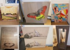 6 X Prints. Micky & Mini Mouse True Love Print On Wood 400 X 590mm. Butterfly Print On Canvass 86