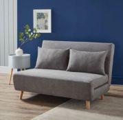 (R10L) 1x Freya Folding Sofa Bed Grey Missing Wooden Legs (With 2x Cushions) RRP £250