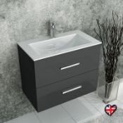 New (S33) 600 mm Anthracite Gloss Grey Wall Hung Unit 2 Drawers. RRP £330.00. Modern Design A...
