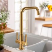 New (S35) Abode Pico Quad Dual Lever Brushed Brass Kitchen Mixer Tap. RRP £205.00. Brushed Bra...