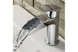 New & Boxed Avis Waterfall Basin Mixer Tap. Tb151.Chrome Plated Solid Brass Mirror Finish. Lat...