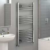 New 1200x600mm - 20mm Tubes - Chrome Curved Rail Ladder Towel Radiator. Nc1200600. Made From Ch...