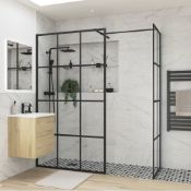 New (S17) Reflexion Iconix Black Framed Wet room Side Panel 760 mm. 8 mm Toughened Safety Glass. ...