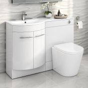 New Boxed 1200 mm Alexis White Gloss Left Hand Vanity Unit _ Cesar Pan. RRP £999.99. Contempo...