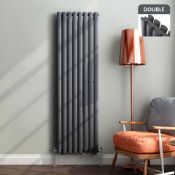 New 1600x360 mm Anthracite Double Oval Tube Vertical Premium Radiator. RRP £429.99. ...