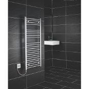New (S72) Flomasta Flat Electric Towel Radiator 1100 x 500 mm Chrome 853 BTU. Electrical Install..