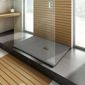 New (S9) 1400x900 mm Rectangular Slate Effect Shower Tray In Grey. Manufactured In The Uk From H...