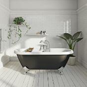New (T1) 1690x740x620mm Richmond Black Roller Top Freestanding Bath. RRP £1,549. With Chrome ...