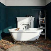 New (T5) 1690x740x620mm Richmond White Roller Top Freestanding Bath With Chrome Ball Feet. A ...
