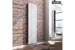 New & Boxed 1800x452mm Gloss White Double Flat Panel Vertical Radiator. RRP £499.99. Rc238. W...