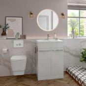 New (Q10) Morina 615 mm 2 Door Floor Standing Vanity Unit & Basin - White Gloss. Soft Close Hin...
