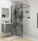 New (T17) Black Leaf Wetroom Glass Panel - 1200mm. RRP £775.99. Make A Real Style Statement W...