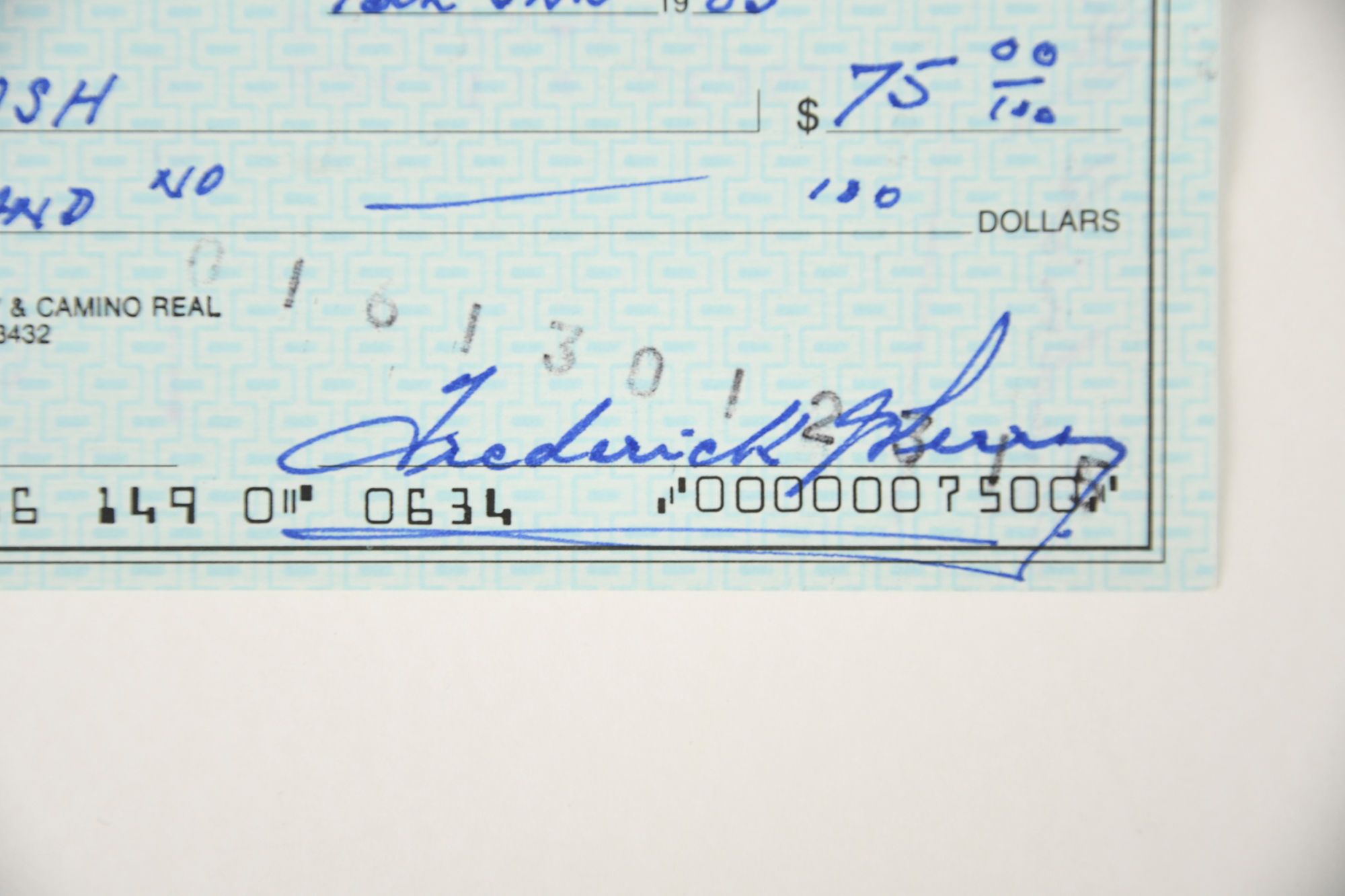 FRED PERRY Original signature on cheque. - Image 2 of 2