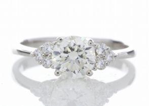 18k White Gold Heart Shape Diamond Ring 1.29 Carats