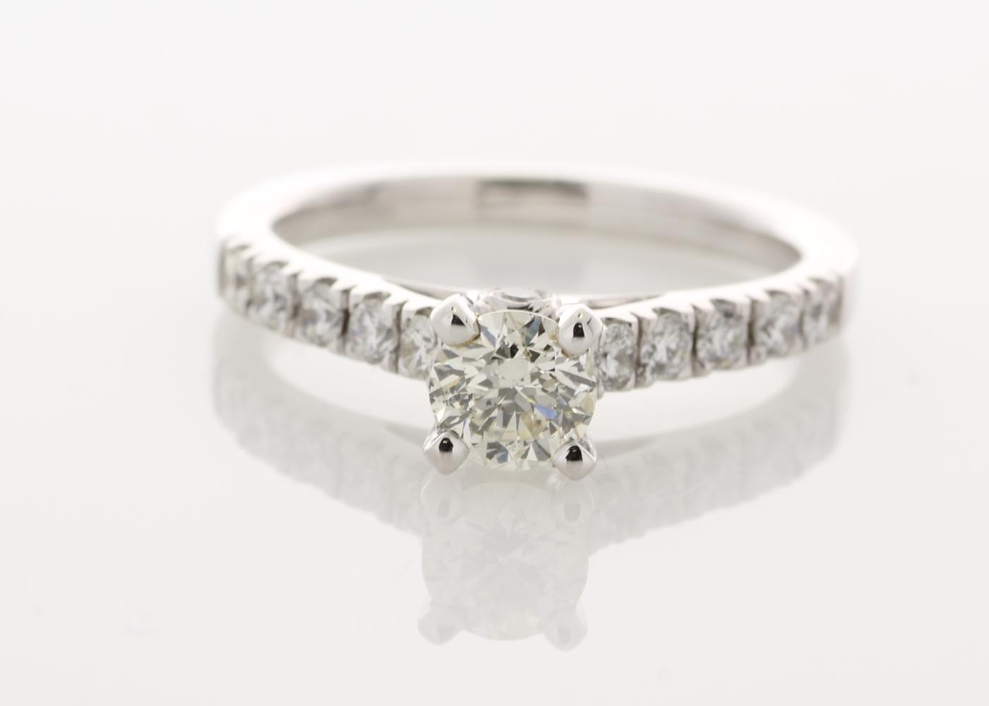 18k White Gold Stone Set Shoulders Diamond Ring 0.91 Carats