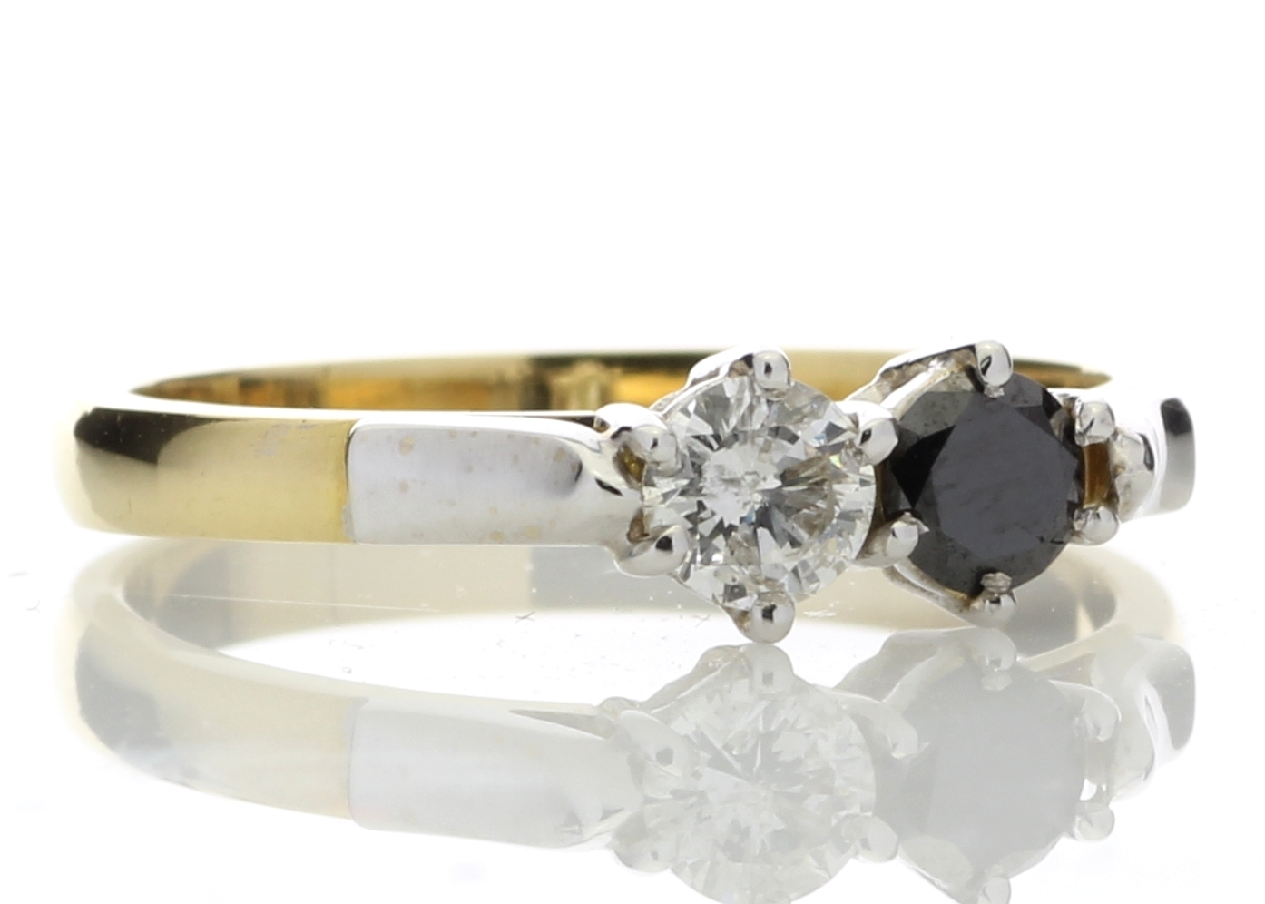 18k Two Stone Claw Set Diamond With Black Treated Stone Ring 0.50 Carats - Image 4 of 4